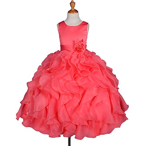 Dressy Daisy Girls' Satin Organza Ruffle Flower Girl Dresses Pageant Gown Party Occasion Dress Size 4T Coral