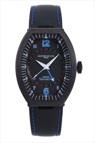 Montres De Luxe Men's EXN 9501 Estremo Black Titanium and Aluminum Luminous Leather Date Watch