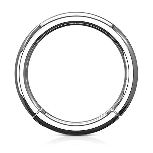 Grade 23 Solid Titanium Hinged Seamless Fifth Cue Septum Clicker Ring - Choose Size
