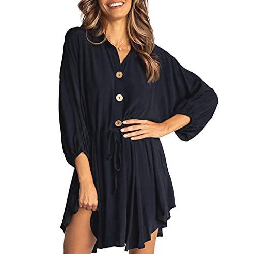 (Sunhusing Women Button Drawstring Waist Belt Lace-Up Solid Color Long Sleeve Irregular Hem Mini Short Dress Black)