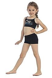 Kurve Kids Love Dance Stud Bra Cami, Shorts & SetMade in USA (One Size Set (4-9), Black/Turquoise)