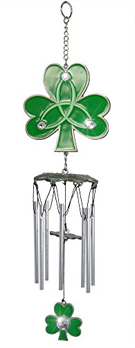BANBERRY DESIGNS Irish Shamrock Wind Chime with Jewels and Green Enameled Metal and Chimes 15″ H Review