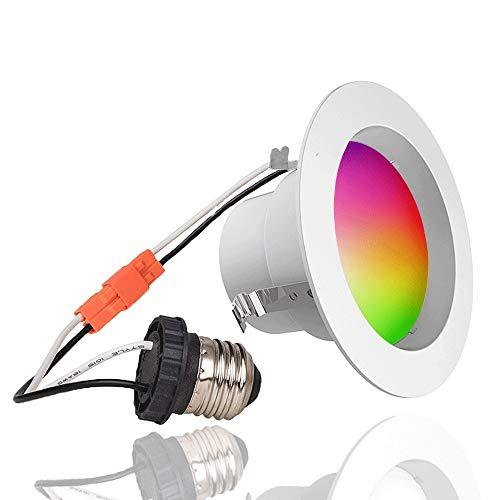 Smart LED Downlight LED Recessed Lighting Ceiling Light 4 Inches 9W iLintek RGBW Retrofit  Fixture 2700K-6000K 800 lm Full Function BLE Mesh Energy Save - No Hub Need by iLintek