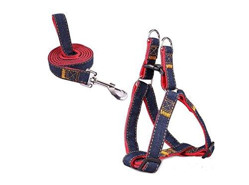 Mimibox No-pull Dog Harness Denim Traction Rope...