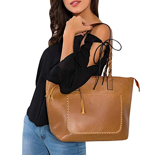 Womens Tassel Totes Shoulder Bags Braided Strap Pebbled Faux Leather (Braided Shoulder Strap)
