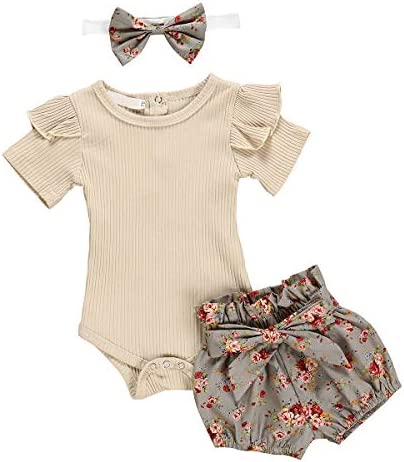 Baby Girl Summer Outfit Fly Sleeve T-Shirt Top and Strap Jumpsuit Bloomers Shorts Set