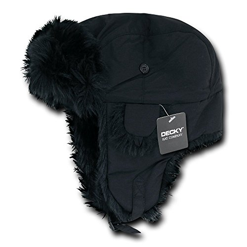 DECKY Aviator Hats, Black, Large/X-Large (Lined Aviator)