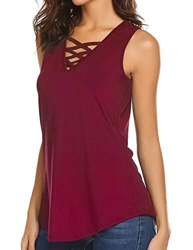 - Bloggerlove Women's Criss Cross Tank Top Summer Sleeveless Casual Cami Shirt Basic Tank Top (XL, Wine Red)