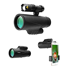 Runspike 12X42 High Power Prism Monocular Telescope Focus Waterproof Spotting Scopes, Night Vision with Smartphone Holder and Fill Light- BAK4 Prism FMC for Bird Watching Hunting Camping Travelling Hi