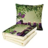 iPrint Quilt Dual-Use Pillow Spa Decor Zen Stones Aromatic Candles and Orchids Blooms Treatment Vacation Multifunctional Air-Conditioning Quilt