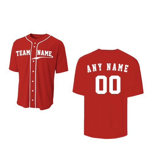 A4 Sportswear Red Adult Large (CUSTOM Front and/or Back) Full-Button Baseball Wicking Jersey by A4 Sportswear