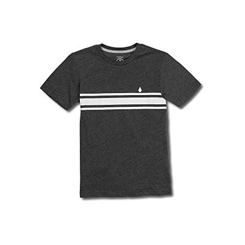 Volcom Big Boys Land Lines Stripe Modern Fit Short Sleeve Tee, Heather Black, Medium