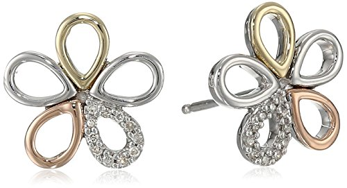 Sterling Silver Rose Gold Diamond Earrings product image