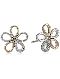 Sterling Silver and 14k Yellow and Rose-Gold Flower Diamond Stud Earrings