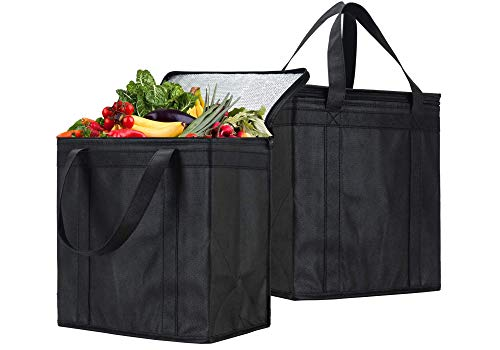 NZ Home Insulated Reusable Grocery Bags, Soft Cooler, Wine Tote, Drinks Bag, Foldable, Stands Upright, Sturdy Zipper (2 Pack)