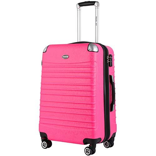 Expandable Carry On Luggage, Lightweight Spinner Carry Ons, Travel Collection TSA Carry On Luggage 20 inches (Pink) by Travel Joy (Image #1)
