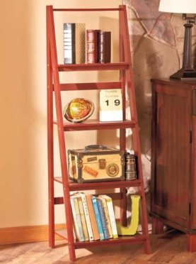 Cnlinkco Stylish Room Walnut Wooden Leaning Ladder Shelf Bookcase
