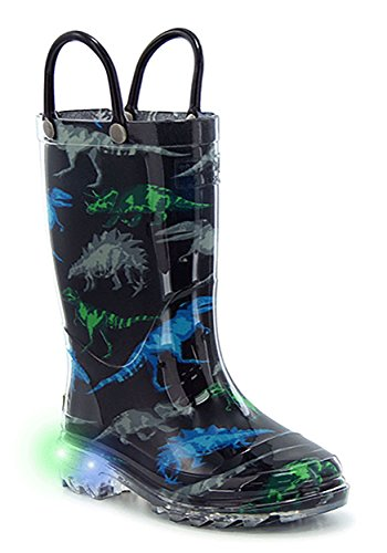 Black Water Western Boots - Western Chief Boys' Light-up Waterproof Rain Boot, Dinosaur Friends, 10 M US Toddler