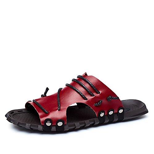 casual uomo pantofola beach fascia vera incrociate da 2018 toe shoes a in ampia con Rosso da in V e Sandali scivolo treccia Mens decorazioni con scollo peep pelle nY7UqfwO