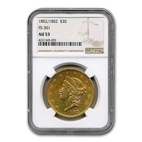1852-1852 $20 Liberty Gold Double Eagle AU-53 NGC (FS-301) G$20 AU-53 NGC