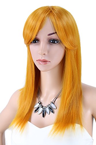 Kalyss women's Shoulder Long Straight Full Hair Wig with Hair Bangs Orange Color Cosplay Costume Synthetic Hair Wig (Orange)
