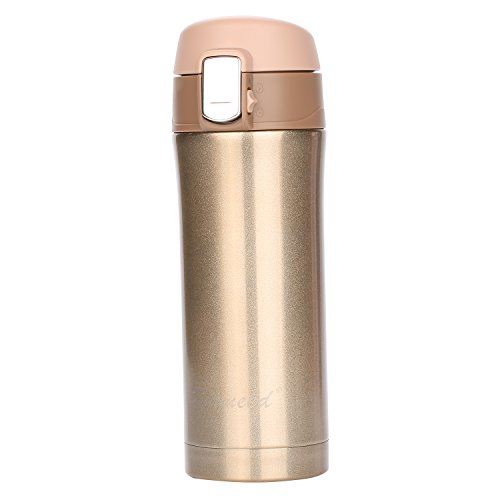 Gold Personalized Coffee (Insulated Stainless Steel Vacuum Flask Travel Coffee Mug 12 oz, Double Walll Leak Proof Beverage Thermos Bottle,Golden)
