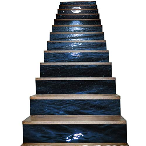 Black Dark Ocean and Night Sky Stair Sticker White Bright Moon Star Stairway Stick Mural Waterproof Self Adhesive Staircase Decal Decorative Floor Step Pasting Poster House Decoration 13 Piece Per Set