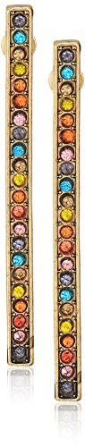 - Steve Madden Women's Metallic Rhinestone Yellow Gold-Tone Bar Post Earrings