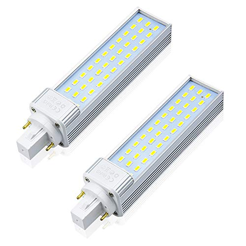 13W G24D 2-Pin PL Retrofit LED Bulbs - Lustaled G24 LED PL-C Horizontal Lamp Daylight PL Fluorescent Tube Lamp G24Q 4 Pin 26W CFL Equivalent for Recessed Cans, 2-Pack (Remove/Bypass The Ballast)