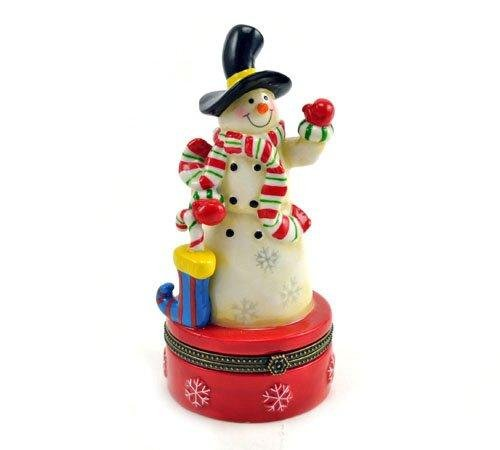 (Art Gifts Christmas Stocking Candy Cane Snowman Porcelain Hinged Trinket Box)