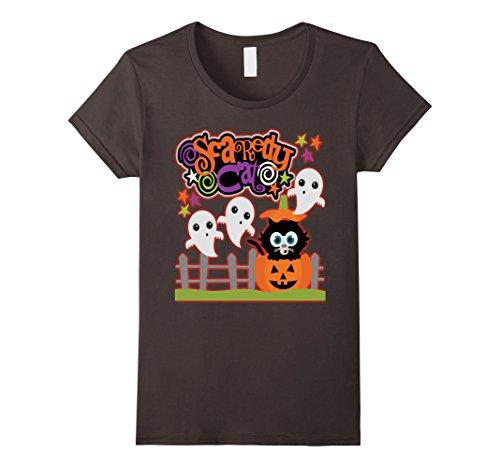 Homemade Halloween Cat Costumes Women (Womens Halloween Costume Shirt Scaredy Cat Cute Halloween Small Asphalt)