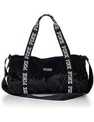 Victorias Secret PINK Black Mini Velvet Duffle Tote Bag