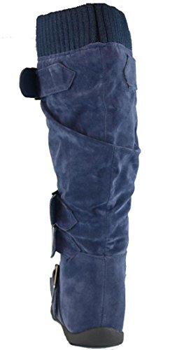 Cambridge Select Damen Schnallenpullover Kniehoher, flacher Stiefel Marine