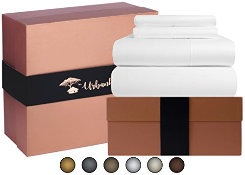 Egyptian Cotton Sheets Set (4 Piece) 700 Thread Count - Bedspread Deep Pocket Premium Quality Bedding Set, Luxury Bed Sheets for Hotel and Home Collection Soft Sateen Weave Perfect Gift - Discount The Hut Student