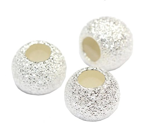 (200pcs Top Quality 6mm Round Stardust Spacer Sterling Silver Plated Brass Metal Beads (Large Hole ~2mm) for Jewelry Craft Making CF227-6)