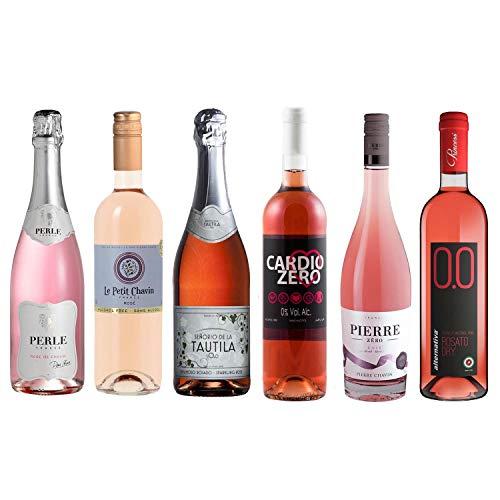 Rose Wine Assortment - Six (6) Non-Alcoholic Wines - Perle Rosé, Zero Rosé, Cardio Zero Rose, Rosato Dry, Espumoso Rosado, Le Petit Chavin Rose.