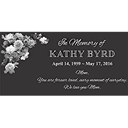 "Personalised Pet Stone Memorial Marker Granite Marker Dog Cat Horse Bird Human 6"" X 12"" FLOWERS"
