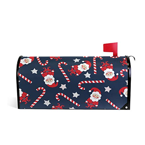 (AUUXVA MAHU Magnetic Mailbox Cover Christmas Santa Claus Stars Candy Cane Post Box Letter Cover Mailbox Wrap for Home Garden Yard Decor, 25.4