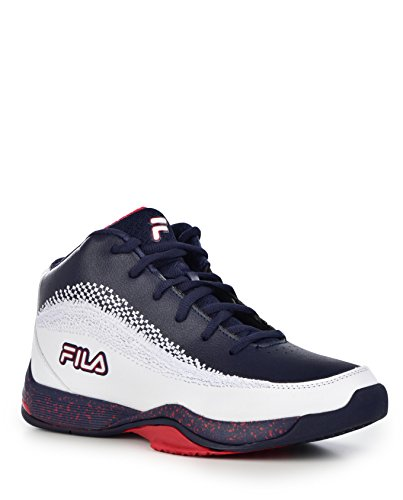 Fila Mens Contingent 4 Basketball Sneaker,White/Navy/RED,10