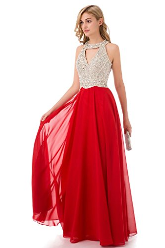 Gorgeous Lace A Prom S1coral HONGFUYU Neck Beading Dress Line Gown Evening High dwCTCxXq6