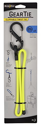 Nite Ize Gear Tie Clippable, The Original Reusable Rubber Twist Tie With A Convenient S-Biner Clip For Hanging + Organizing, 24-Inch, Neon Yellow