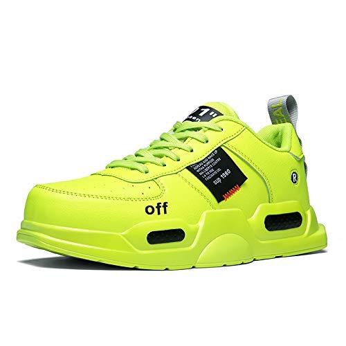 XIDISO Fashion Mens Sneakers Lightweight Walking Shoes School Teen Sport Athletic Running Shoe for Men Neon Green