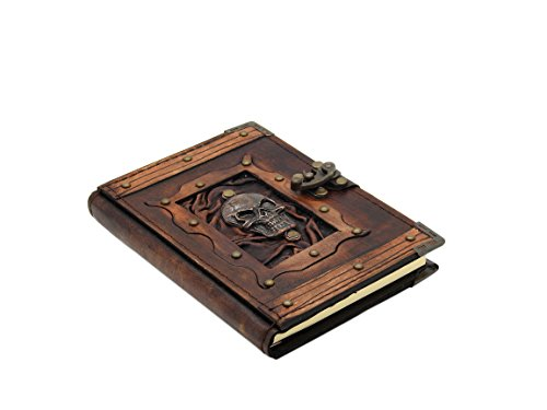 Thea`s Impressions Skull Pendant Real Leather Journal Small Writing Notebook Handmade Natural Leather Daily Notepad For Men & Women Unlined Paper, Best Gift for Art Sketchbook, Travel Diary, Write in (Skull Pendant Leather)