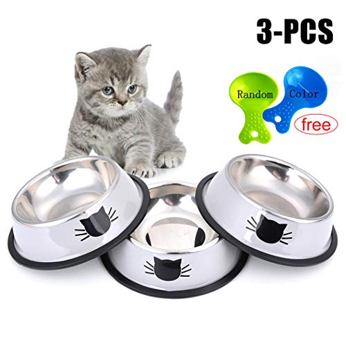 - Legendog Cat Bowl Pet Bowl Stainless Steel Cat Food Water Bowl with Non-Slip Rubber Base Small Pet Bowl Cat Feeding Bowls Set of 3 (Grey)
