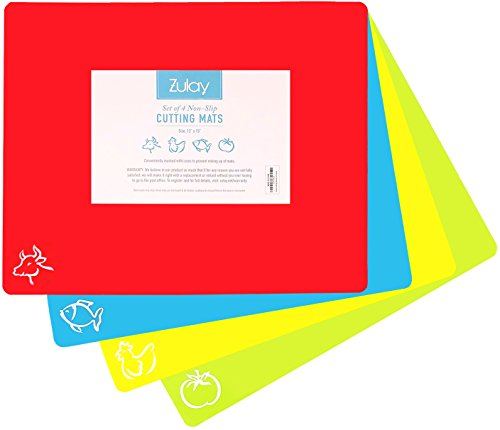 Plastic Cutting Mat Set - Quality Thin Cutting Boards 4 Colors - Non-Toxic, Flexible & Non-Slip - Perfect for Chopping Vegetables, Beef, Fish, Chicken - Food Icons - Extra Large by Zulay (Non Slip Chopping Board)