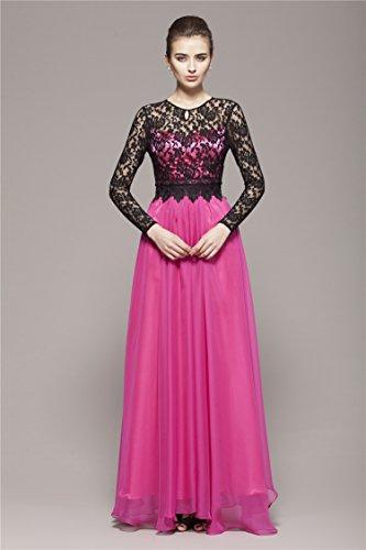 Violett Ansatz Spitze Emily Beauty Abend Kleid Langarmn O 864cAxqS