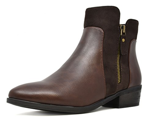 Ankle Height Leather Boots (DREAM PAIRS Women's HARROT Brown Faux Leather Chelsea Ankle Booties Size 9 M US)