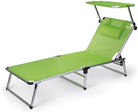 0 Bertoni Rambla Branda aus Textilene-Gewebe, Sonnenliege mit Sonnendach für Strand und Pool, apfelgrün, Einheitsgröße