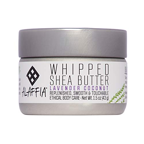 Alaffia - Whipped Shea Butter, All Skin Types, Moisturizing Support to Soften and Nourish Skin with Shea Butter and Coconut Oil, Fair Trade, No Parabens, Vegan, Lavender Coconut, 1.5 Ounces
