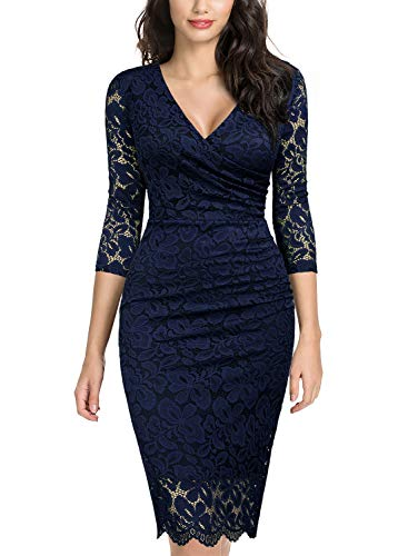 Miusol Women's Retro Deep-V Neck Ruffles Floral Lace Evening Pencil Dress (XX-Large, C-Navy Blue)